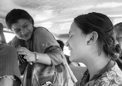 Inside a Microbus in Kathmandu